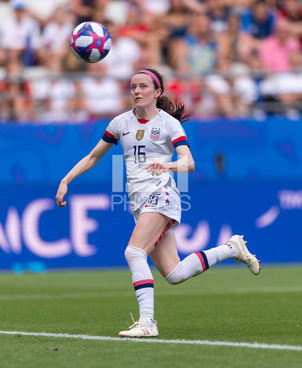 REIMS,  - JUNE 24: Rose Lavelle #16 tries to control the ball during a game between NT v Spain and  at Stade Auguste Delaune on June 24, 2019 in Reims, France.