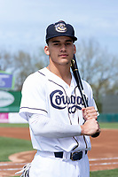 Kane County Cougars outfielder Alek Thomas (2) poses for a photo before a Midwest League game against the Cedar Rapids Kernels at Northwestern Medicine Field on April 28, 2019 in Geneva, Illinois. (Zachary Lucy/Four Seam Images)