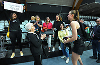 Silver Fern Kelly Jury's grandmother, Diane Walter, and her family wish Kelly a happy birthday after the Cadbury Netball Series match between NZ Silver Ferns and NZ Men at the Fly Palmy Arena in Palmerston North, New Zealand on Thursday, 22 October 2020. Photo: Dave Lintott / lintottphoto.co.nz