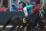 HOT SPRINGS, AR - JANUARY 16: Uncontested #6 with jockey Channing Hill aboard before the running of the Smarty Jones Stakes at Oaklawn Park on January 16, 2017 in Hot Springs, Arkansas. (Photo by Justin Manning/Elipse Sportwire/Getty Images)