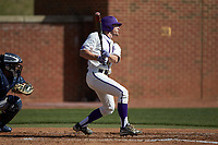 Jordan Sergent (9) of the High Point Panthers follows through on his swing against the NJIT Highlanders at Williard Stadium on February 19, 2017 in High Point, North Carolina. The Panthers defeated the Highlanders 6-5. (Brian Westerholt/Four Seam Images)