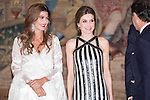 Juliana Awada and Queen Letizia during the reception in honor of his majesties the Kings of Spain offered by his excellencies the president of the Argentine Republic at El Pardo Palace in Madrid, Spain. February 23, 2017. (ALTERPHOTOS/BorjaB.Hojas)
