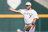 Miami Hurricanes second baseman George Iskenderian (7) makes a throw to first base during the NCAA College baseball World Series against the Arkansas Razorbacks  on June 15, 2015 at TD Ameritrade Park in Omaha, Nebraska. Miami beat Arkansas 4-3. (Andrew Woolley/Four Seam Images)