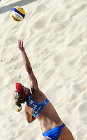 Campionati mondiali di beach volley a Roma, 14 giugno 2011..April Ross, of the United States, in action during the Beach Volleyball World Championship in Rome, 14 june 2011..UPDATE IMAGES PRESS/Riccardo De Luca
