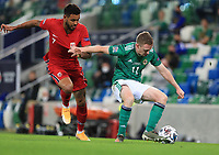 7th September 2020; Windsor Park, Belfast, County Antrim, Northern Ireland; EUFA Nations League, Group B, Northern Ireland versus Norway; Shane Ferguson of Northern Ireland and Norway's Joshua King compete for the ball