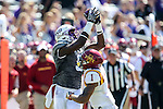Iowa State Cyclones defensive back D'Andre Payne (1) and TCU Horned Frogs wide receiver John Diarse (9) in action during the game between Iowa State Cyclones and the TCU Horned Frogs at the Amon G. Carter Stadium in Fort Worth, Texas.