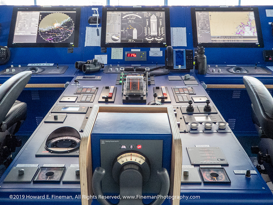 Helm and primary electronic controls and instruments on a modern ship