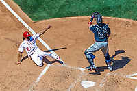 9 July 2017: Washington Nationals third baseman Anthony Rendon slides home safely to score the go-ahead run, breaking a 3-3 tie in the 4th inning against the Atlanta Braves at Nationals Park in Washington, DC. The Nationals defeated the Atlanta Braves to split their 4-game series going into the All-Star break. Mandatory Credit: Ed Wolfstein Photo *** RAW (NEF) Image File Available ***