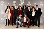 Spanish actors Eduardo Noriega (5L), Marta Etura (2R), Alfonso Bassave (1D), Irene Escolar (4L) and Jack Taylor (3L), Spanish author Clara Sanchez (3R) and Spanish director Santiago Tabernero (2D) attend the 'Presentimientos' photocall at the Princesa cinema. January 21, 2014. (ALTERPHOTOS/Victor Blanco)