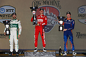 #8: Marcus Ericsson, Chip Ganassi Racing Honda, #9: Scott Dixon, Chip Ganassi Racing Honda, #29: James Hinchcliffe, Andretti Steinbrenner Autosport Honda celebrate on the podium
