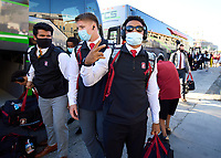 LOS ANGELES, CA - SEPTEMBER 11: Jonathan McGill #2 of the Stanford Cardinal arrives before a game between University of Southern California and Stanford Football at Los Angeles Memorial Coliseum on September 11, 2021 in Los Angeles, California.