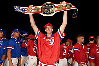 Matthew Liberatore (32) of Mountain Ridge High School in Peoria, Arizona raises the belt after being named the game MVP for the Under Armour All-American Game presented by Baseball Factory on July 29, 2017 at Wrigley Field in Chicago, Illinois.  (Mike Janes/Four Seam Images)