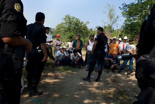 """Guatemala, Petén, Mayan Biosphere Reserve, Land Conflicts, Eviction operation in """"Sierra del Lacandón"""" park, part of the Mayan Biosphere Resort. Evictions are expensive and have little long term results as settlers come back after military has left. Further the operations only affect despered farmers who mostly work for wealthy rachers."""