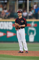 Rochester Red Wings first baseman Zander Wiel (12) during a game against the Lehigh Valley IronPigs on September 1, 2018 at Frontier Field in Rochester, New York.  Lehigh Valley defeated Rochester 2-1.  (Mike Janes/Four Seam Images)