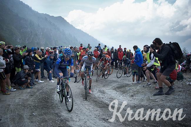 maglia azzurra Giovanni Visconti (ITA/Movistar) isn't riding that strong up the dirt roads of the Colle delle Finestre (2178m)<br /> <br /> Giro d'Italia 2015<br /> stage 20: Saint Vincent - Sestriere (199km)