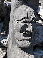 Totempfähle im Hahoe Volkskundedorf bei Andong, Provinz Gyeongsangbuk-do, Südkorea, Asien, UNESCO-Weltkulturerbe<br /> Totem pole  in Hahoe Folk Village near Andong,  province Gyeongsangbuk-do, South Korea, Asia, UNESCO world-heritage