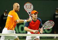 05-03-2006,Swiss,Freibourgh, Davis Cup , Swiss-Netherlands, Peter Wessels-Dennis van Scheppingen in actio against Yves Allegro-George Bastl