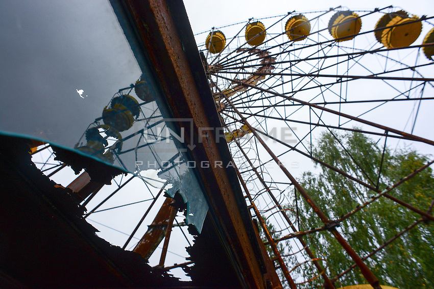 """""""Legendary"""" observation wheel - an image often used by cinematographers and designers of computer games to picture abandoned Prypyat city near Chernobyl power plant."""