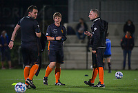 referee Sylvie Deckers pictured with assistants Maxime Fievet and Denis Lefebvre during a female soccer game between Sporting Charleroi and Club Brugge YLA on the sixth matchday in the 2021 - 2022 season of Belgian Scooore Womens Super League , friday 8 October 2021 in Marcinelle , Belgium . PHOTO SPORTPIX   STIJN AUDOOREN