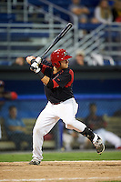Batavia Muckdogs second baseman Alex Fernandez (46) at bat during a game against the Vermont Lake Monsters August 9, 2015 at Dwyer Stadium in Batavia, New York.  Vermont defeated Batavia 11-5.  (Mike Janes/Four Seam Images)
