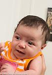 3 week old baby girl held upright closeup