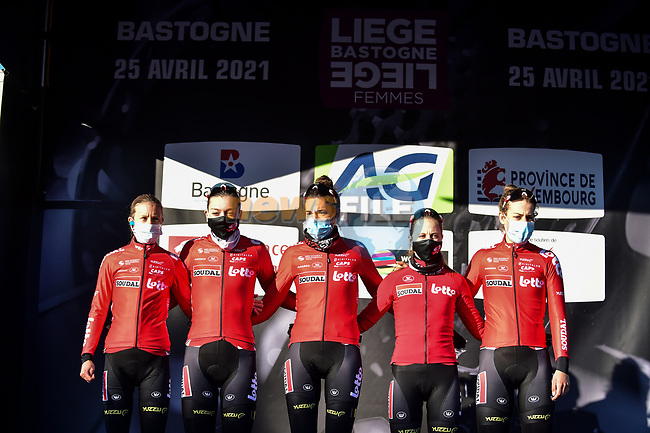 Lotto-Soudal Ladies at the team presentations before the start of Liege-Bastogne-Liege Femmes 2021, running 141km from Bastogne to Liege, Belgium. 25th April 2021.  <br /> Picture: A.S.O./Gautier Demouveaux | Cyclefile<br /> <br /> All photos usage must carry mandatory copyright credit (© Cyclefile | A.S.O./Gautier Demouveaux)