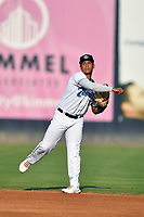 Asheville Tourists  second baseman JC Correa (11) warms up during a game against the Hickory Crawdads on July 21, 2021 at McCormick Field in Asheville, NC. (Tony Farlow/Four Seam Images)