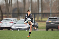 LOUISVILLE, KY - MARCH 13: Savannah McCaskill #7 of Racing Louisville FC kicks the ball during warmups before a game between West Virginia University and Racing Louisville FC at Thurman Hutchins Park on March 13, 2021 in Louisville, Kentucky.
