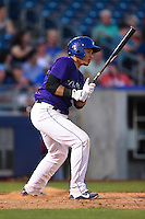 Tulsa Drillers shortstop Cristhian Adames (2) at bat during the second game of a doubleheader against the Frisco Rough Riders on May 29, 2014 at ONEOK Field in Tulsa, Oklahoma.  Frisco defeated Tulsa 3-2.  (Mike Janes/Four Seam Images)