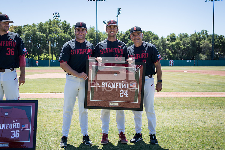 STANFORD, CA - MAY 29: Senior Nick Brueser, David Esquer, Grant Burton before a game between Oregon State University and Stanford Baseball at Sunken Diamond on May 29, 2021 in Stanford, California.