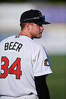 Tri-City ValleyCats Seth Beer (34) warms up before a game against the Vermont Lake Monsters on June 16, 2018 at Joseph L. Bruno Stadium in Troy, New York.  Vermont defeated Tri-City 6-2.  (Mike Janes/Four Seam Images)