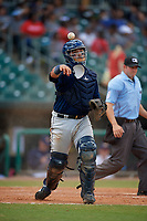 Mobile BayBears catcher Julian Leon (20) throws to first base during a Southern League game against the Montgomery Biscuits on May 2, 2019 at Riverwalk Stadium in Montgomery, Alabama.  Mobile defeated Montgomery 3-1.  (Mike Janes/Four Seam Images)