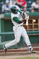 Fort Wayne TinCaps shortstop Ruddy Giron (12) swings the bat against the West Michigan Whitecaps on May 23, 2016 at Parkview Field in Fort Wayne, Indiana. The TinCaps defeated the Whitecaps 3-0. (Andrew Woolley/Four Seam Images)