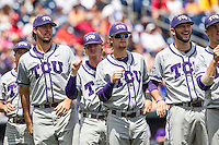 TCU Horned Frogs players Mitchell Traver (33), Evan Williams (27), Connor Beck (24) and Alex Young (23) are introduced before the NCAA College World Series game the LSU Tigers on June 14, 2015 at TD Ameritrade Park in Omaha, Nebraska. TCU defeated LSU 10-3. (Andrew Woolley/Four Seam Images)