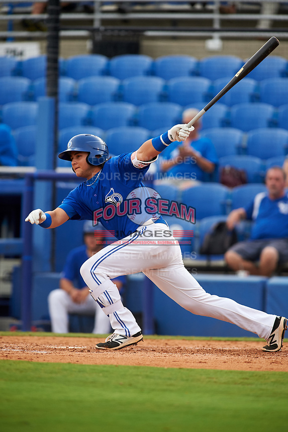 Dunedin Blue Jays designated hitter Bo Bichette (10) follows through on a swing during a game against the Bradenton Marauders on July 17, 2017 at Florida Auto Exchange Stadium in Dunedin, Florida.  Bradenton defeated Dunedin 7-5.  (Mike Janes/Four Seam Images)
