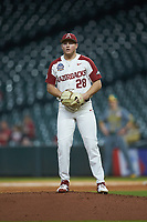 Arkansas Razorbacks starting pitcher Kole Ramage (28) comes to a set position during the game against the Baylor Bears in game nine of the 2020 Shriners Hospitals for Children College Classic at Minute Maid Park on March 1, 2020 in Houston, Texas. The Bears defeated the Razorbacks 3-2. (Brian Westerholt/Four Seam Images)