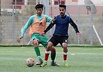 Palestinian players of Olympic football team practice at Mohammed el-Dura Stadium in Gaza City on April 11, 2021. Photo by Marihan Al-Khalidi