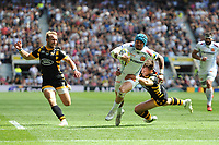 Jack Nowell of Exeter Chiefs evades the tackle of Josh Bassett of Wasps to score a try during the Premiership Rugby Final at Twickenham Stadium on Saturday 27th May 2017 (Photo by Rob Munro)