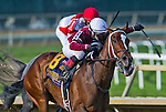 September 20, 2014: Untapable (8, burgundy silks, white cap), ridden by Rosie Napravnik, wins the $1,000,000 Cotillion Stakes on Pennsylvania Derby Day at Parx Casino and Racing in Bensalem, Pennsylvania. Scott Serio/ESW/CSM