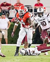 ATHENS, GEORGIA - September 19, 2015: University of Georgia Bulldogs vs. University of South Carolina Gamecocks at Sanford Stadium.  Final score, Georgia 52, South Carolina 20.