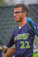 16 June 2014: Vermont Lake Monsters pitcher Dominique Vattuone taps out grounders prior to a game against the Connecticut Tigers at Centennial Field in Burlington, Vermont. The Lake Monsters fell to the Tigers 3-2 in NY Penn League action. Mandatory Credit: Ed Wolfstein Photo *** RAW Image File Available ****