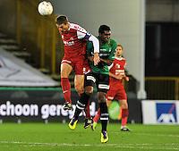 Cercle Brugge KSV - KV Kortrijk : duel tussen Nebojsa Pavlovic en Renato Neto.foto VDB / BART VANDENBROUCKE