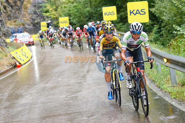 White Jersey Egan Bernal (COL) Ineos Grenadiers and Primoz Roglic (SLO) Jumbo-Visma attack on the second time up La Collada Llomena during Stage 17 of La Vuelta d'Espana 2021, running 185.8km from Unquera to Lagos de Covadonga, Spain. 1st September 2021.    <br /> Picture: Luis Angel Gomez/Photogomezsport | Cyclefile<br /> <br /> All photos usage must carry mandatory copyright credit (© Cyclefile | Luis Angel Gomez/Photogomezsport)