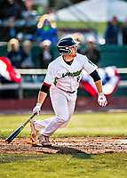 29 May 2021: Vermont Lake Monsters Infielder Brian Hadden, from Newburyport, MA, at bat against the Norwich Sea Unicorns at Centennial Field in Burlington, Vermont. The Lake Monsters defeated the Unicorns 6-3 in their FCBL Home Opener, the first home game played at Centennial Field post-Covid-19 pandemic. Mandatory Credit: Ed Wolfstein Photo *** RAW (NEF) Image File Available ***