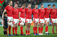 Wales line up before the 2019 Rugby World Cup bronze final match between New Zealand All Blacks and Wales at the Tokyo Stadium at the Tokyo Stadium in Tokyo, Japan on Friday, 1 November 2019. Photo: Steve Haag / stevehaagsports.com
