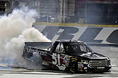 NASCAR Camping World Truck Series<br /> North Carolina Education Lottery 200<br /> Charlotte Motor Speedway, Concord, NC USA<br /> Friday 19 May 2017<br /> Kyle Busch, Cessna Toyota Tundra celebrates his win with a burnout<br /> World Copyright: Nigel Kinrade<br /> LAT Images<br /> ref: Digital Image 17CLT1nk05256