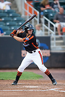T.J. Nichting (40) of the Aberdeen IronBirds at bat against the Hudson Valley Renegades at Leidos Field at Ripken Stadium on July 27, 2017 in Aberdeen, Maryland.  The Renegades defeated the IronBirds 2-0 in game one of a double-header.  (Brian Westerholt/Four Seam Images)