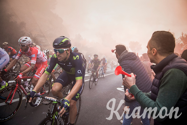 Alex Dowsett (GBR/Movistar) up the  smoke- & tifosi-packed Capo Berta (38 km's before the finish)<br /> <br /> 108th Milano - Sanremo 2017