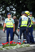 Police officers unwind after stage four of the NZ Cycle Classic UCI Oceania Tour in Wairarapa, New Zealand on Wednesday, 25 January 2017. Photo: Dave Lintott / lintottphoto.co.nz
