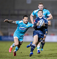 8th January 2021; AJ Bell Stadium, Salford, Lancashire, England; English Premiership Rugby, Sale Sharks versus Worcester Warriors; AJ Macginty of Sale Sharks catches a loose ball
